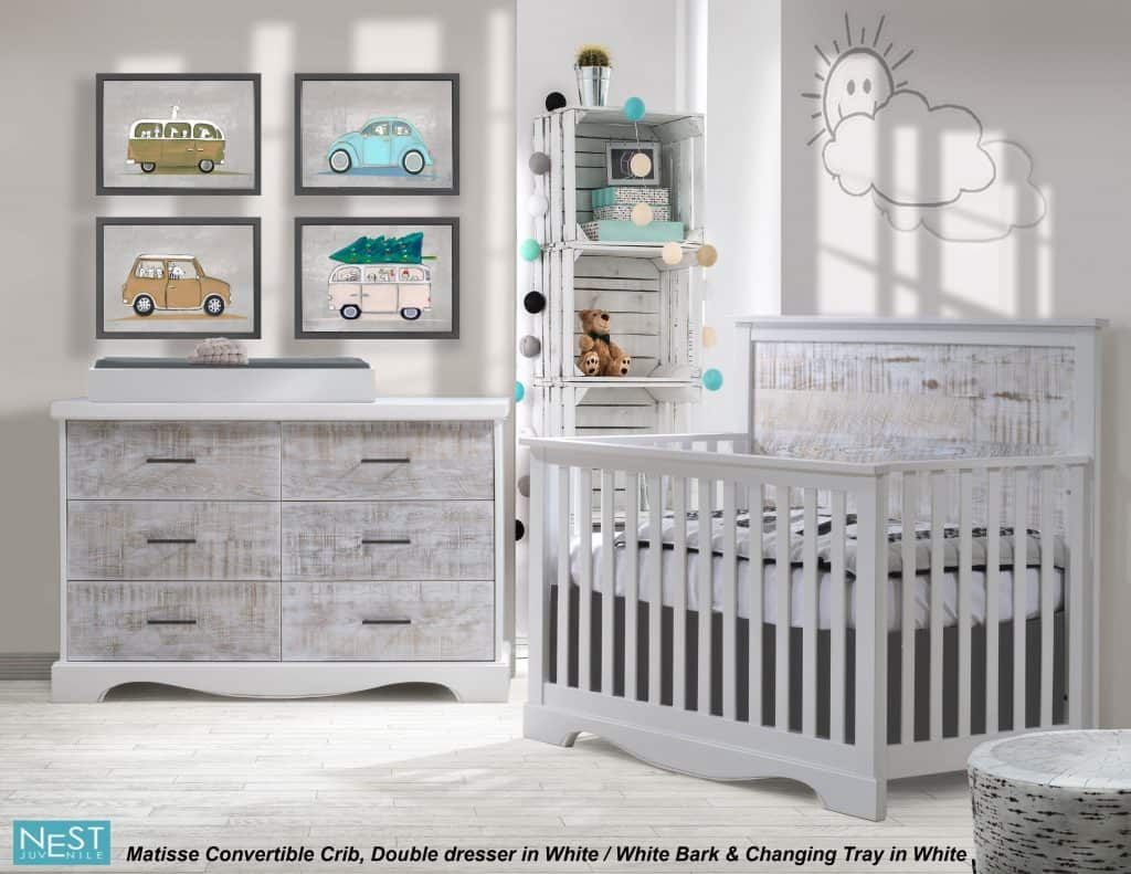 Matisse Conv.Crib in White-White Bark