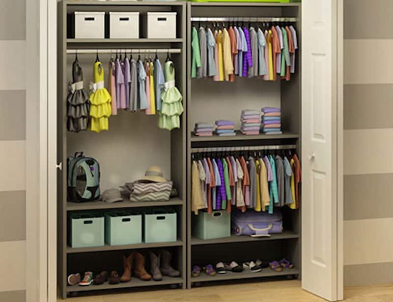 Wardrobe organizing system in closet