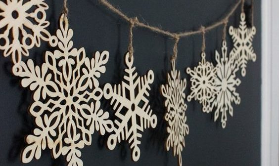 Paper snowflake decoration on string