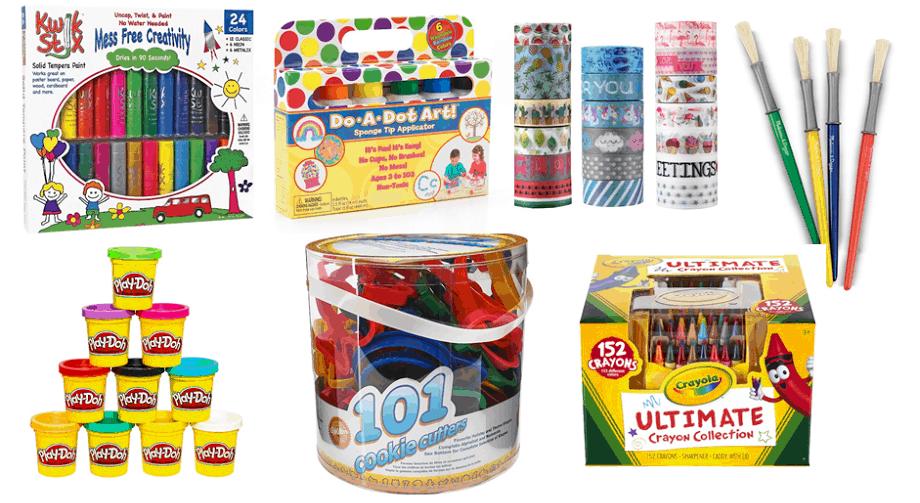 craft supplies play doh, crayons, paint brush