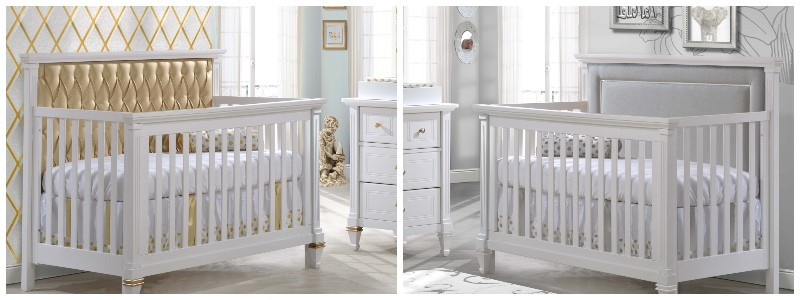 Cribs with grey and gold upholstered panels