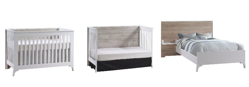 Natart convertible crib in white and wooden panel turned into junior bed and twin bed